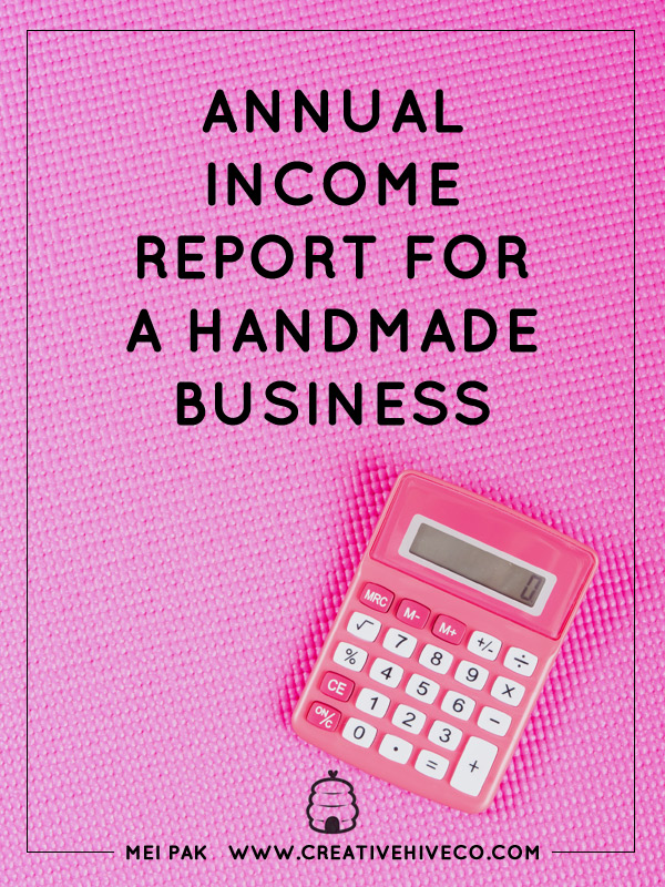 Annual income report for a handmade business