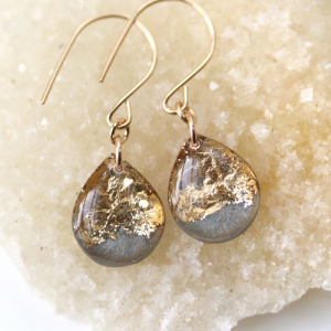 Sara Broski - Tiny Galaxies: Grey & Gold Leaf Teardrop Earrings