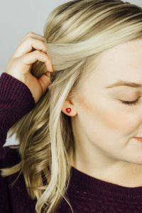 Sara Broski - Tiny Galaxies: Red Glitter Heart Post Earrings