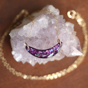 Sara Broski - Tiny Galaxies: Unicorn Glitter Half Moon Necklace